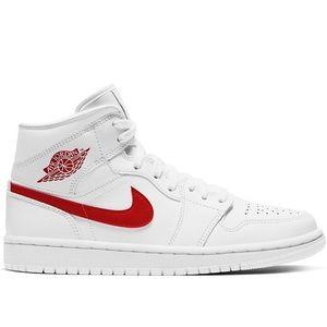 Air Jordan 1 Mid (BQ6472 106), White & Red, NEW